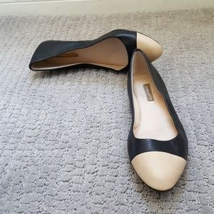 Louise et Cie flats, black and cream, good cond.